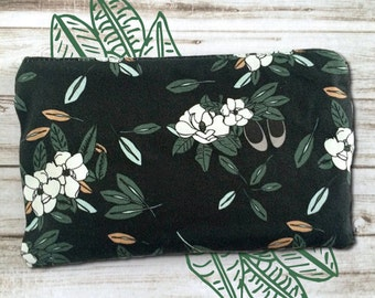 Custom Magnolia Print Zipper Pouch