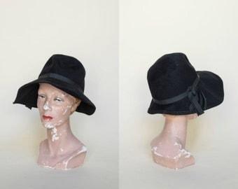 1970s Black Hat --- Vintage Fall Hat