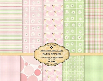 Katie Digital Paper pack for invites, card making, digital scrapbooking