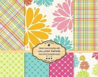 Lollipop  Digital Paper Pack for invites, card making, digital scrapbooking