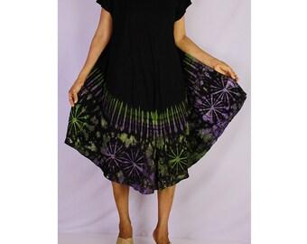 Women Maxi Gypsy Boho Hippie Summer Beach Tie Dye Rayon Comfy Dress (TD 21)