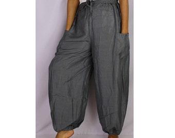 Boho Hippie Grey Rayon Elastic Waist Long Aladdin Summer pants (AP08)
