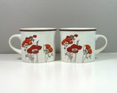 Royal Doulton Lambethware Fieldflower Coffee Cups 1970's Red and Orange Poppy Pattern