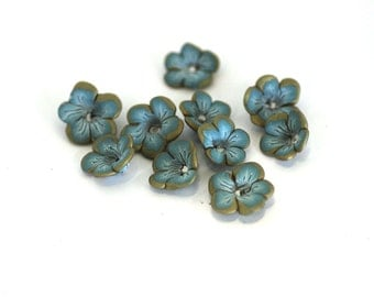 Seafoam Blue Flower Beads, Flower Beads, Polymer Clay Beads, 10 pieces