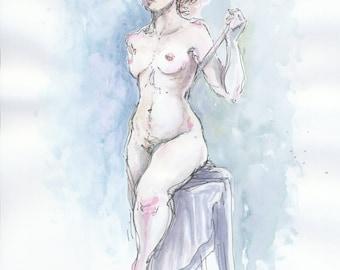 Watercolor figure drawings - set of two