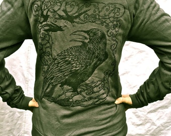 Grey Raven Crow Tree Cool Bird Nevermore Gift For Him/Her Celtic Hoodie Gothic Poe Oak ZipUp Gray Unisex Made in USA XL Only