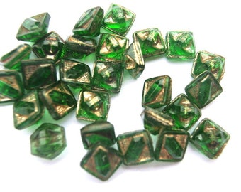 6 Antique buttons, green glass with gold color trim, 8mm, square shape