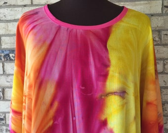Plus Size Extra Long Lightweight Rayon Tie Dye Tunic