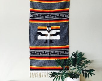 Vintage LARGE rug wall hanging village southwestern Native american indian mexican peruvian floorcover home decor fiber art aztec