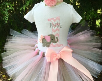 Girl 1st Birthday Outfit - Elephant Birthday Tutu Set - Birthday Tutu - Cake Smash Outfit
