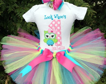 Owl 1st Birthday Tutu Outfit - Baby Girl Cake Smash - Owl Birthday - Baby Girl Tutu Set