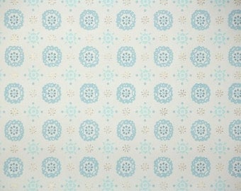 1950's Vintage Wallpaper - Blue and White Geometric