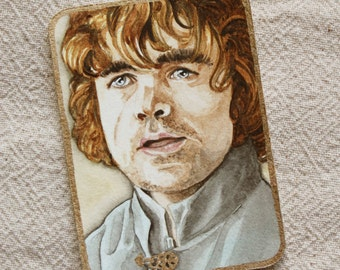 Original ACEO watercolor painting of Tyrion Lannister ATC miniature GOT Game of Thrones Trading Card