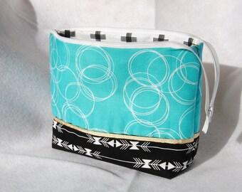 Zippered Pouch, Make up bag, Art Bag, Pencil Case, Widemouth Zippered Bag
