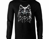 Long Sleeve Blue Eyed Wolf Fan Art T-Shirt