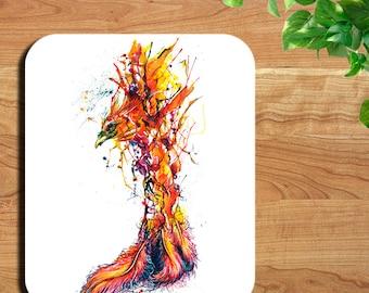 Phoenix Rising Watercolor Bird Art Print Mouse Pad