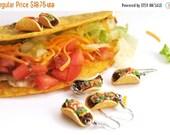 Christmas in July - Taco Earrings, Food Jewelry, Miniature Food Jewelry, Polymer Clay Food Earrings