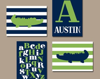 ALLIGATOR Wall Art, BABY BOY Nursery Wall Art, Boy Bedroom Decor, Crocodile Stripes Navy Green, Abc Alphabet Set of 4, Canvas or Print