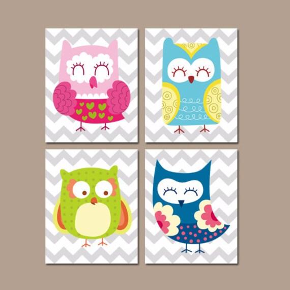 Wall art for baby girl bedroom : Owl nursery wall art baby girl artwork whimsical bedroom