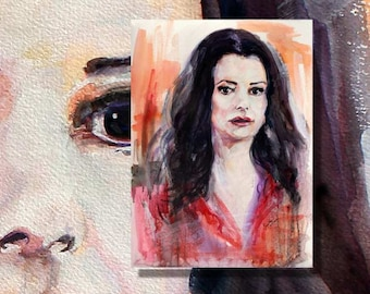 Criminal Minds Emily Prentiss Watercolor by Ginette Free Shipping