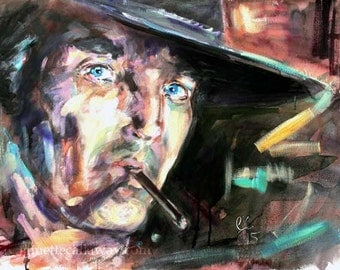 Western Movies Henry Fonda Large Original Painting by Ginette Free Shipping