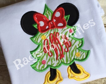 Minnie Mouse Christmas Shirt- Monogrammed mouse Shirt- Christmas Tree Minnie Shirt