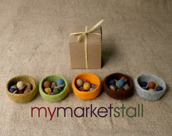 Felted Mini Bowl and Six Felted Acorns - Gift Set - Assorted Colors - Ready to Ship