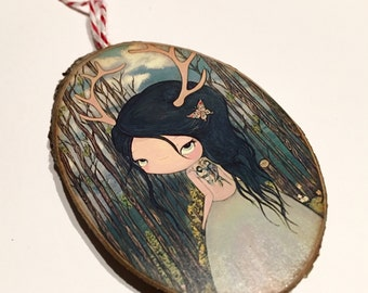 Deer Ornament Wooden Handmade Tree Decoration Deer Girl with Antlers