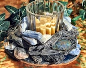 Votive Candleholder with Blue & Black Kyanite, Chalcopyrie and Agate, Home Decor, Candlelight, Metaphysical