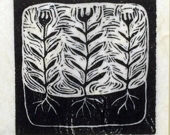 Spring Flowers- linoleum block print- Ruchika Madan