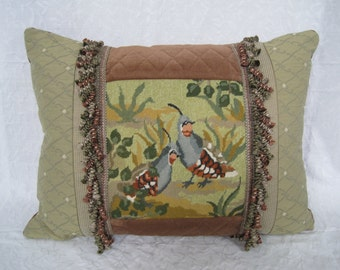 Needlepoint Pillow California Quail Velvet Silk French Trim Oversized 20 x 24 High Quality One of a Kind