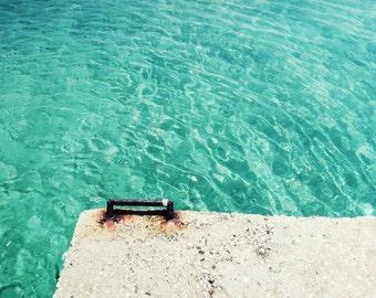 Greece photography ocean print blue wall art minimal teal aqua blue art beach cottage decor 'Dive In'