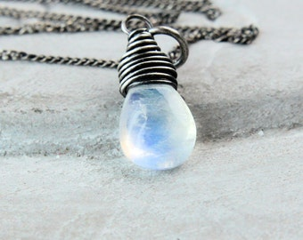 White Moonstone Necklace Oxidized  Silver Gemstone Jewelry White Moonstone Jewelry June Birthstone Pendant  Drop Pendant  Sterling Silver