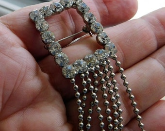 Vintage Rhinestone Flapper Brooch with Tiny Ball Chain Rock and Roll Steampunk Jewelry UNUSUAL