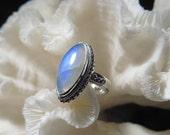 Beautiful Iridescent Moonstone  Ring Size 7