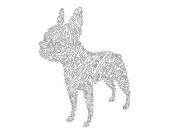 boston terrier printable dog coloring page geometric coloring dog digi stamp adult - Boston Terrier Coloring Page