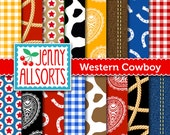 Western Cowboy Digital Paper Pack - Cowboy Party Paper - Printable Cowboy Scrapbook Paper - for invites, card making, digital scrapbooks