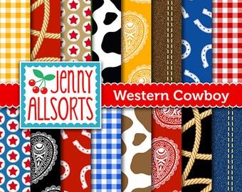 Western Cowboy Digital Paper Pack - Cowboy Party Paper - Printable Cowboy Scrapbook Paper - for invites, card making, digital scrapbooks
