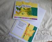 Handmade Birthday Card: complete card, handmade, balsampondsdesign, card, butterfly, yellow, green, ooak,unique