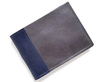 Thin Leather Wallet, Mens Minimalist Wallet, Slim Leather Wallet, Mens Leather Bifold, Gift for Him - The Frankie Wallet in Dark Slate Grey
