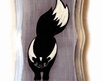 Skunk Painting - Original Woodland Animal Wall Art Acrylic Miniature Painting on Wood by Karen Watkins - Black and White Creatures Painting