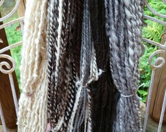 Handspun yarn package. One pound plus handspun yarn, soft and bulky, Flock package