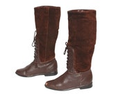 size 6.5 EQUESTRIAN brown leather 70s 80s RIDING lace up knee high TALL boots