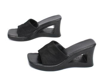 size 10 PLATFORM black 80s 90s CHUNKY GRUNGE wedge slide sandals