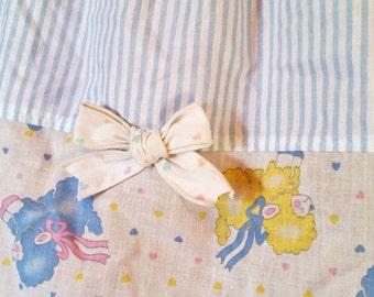 Fairy kei skirt, 80's sheep lamb animal print cotton elastic size large L
