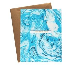 AND MANY MORE Aqua/Indigo Marble Greeting Card - Single Card