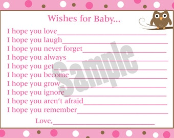 24 Wishes for Baby Cards - Personalized Baby Shower Cards - Pink Owl Baby Shower