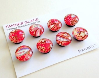 Japanese Chiyogami Magnets- set of 8 Glass Magnets - you choose the design