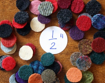 Felted Wool Circles -- 50 Wool Pennies -- 1/2-inch