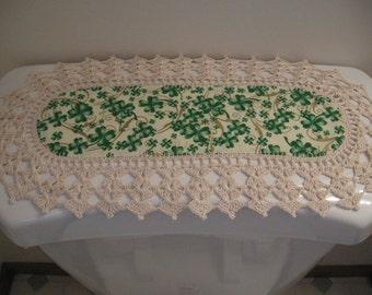 Aunt Roo's MINI St. Patrick's fabric runner (reverse Easter Egg Toss) w/ crocheted edging for toilet tank or small shelf